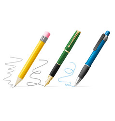Realistic 3d pen and pencil write set vector