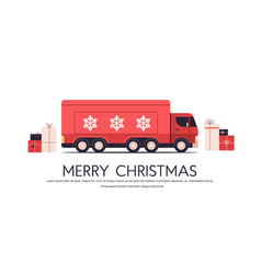 red truck delivering gifts merry christmas happy vector image