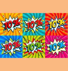Sale set sale ten percent 10 off tags on a comics vector