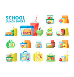 school lunch boxes flat set vector image