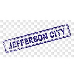 Scratched jefferson city rectangle stamp vector