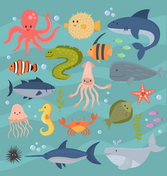 Sea life underwater cartoon animals cute marine vector