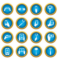 selfie icons blue circle set vector image