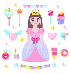 set cartoon princess vector image