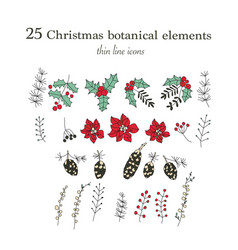 set of 25 christmas botanical symbols thin line vector image