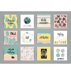 Set of artistic creative autumn cards vector