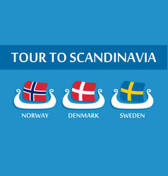 Set of colorful emblem of scandinavian flags vector