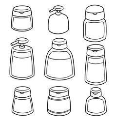 set of shampoo and liquid soap bottle vector image