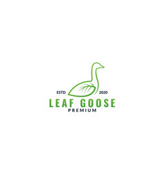 Swan or goose with leaf green wing line logo vector
