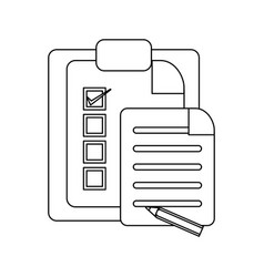 Tasks on clipboard in black and white vector