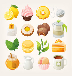 tea desserts and elements vector image