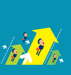 team flying to upward concept business direction vector image