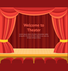 theater scene with a red curtain concept banner vector image