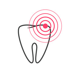 tooth pain icon or toothache disease ache vector image