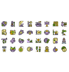 trade war icons set flat vector image