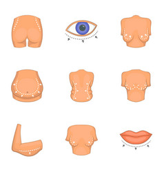 Type of liposuction icons set cartoon style vector
