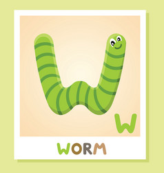 W is for worm letter worm cute vector
