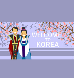 welcome to korea poster korean coupe in national vector image