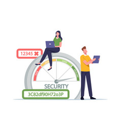 Woman with laptop and man with tablet at scale vector