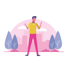 young person at city park outdoors vector image