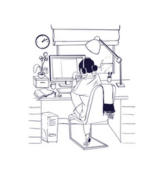 young woman sitting at computer and working vector image