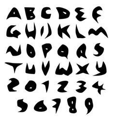 Creepy alphabet sharp fonts in black over white vector