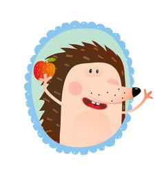 hedgehog portrait eating apple vector image