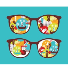 Retro sunglasses with spring reflection in it vector image