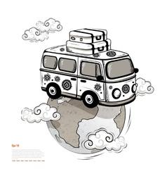 Retro Travel bus vector image vector image