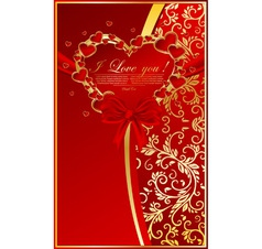 abstract floral background with red heart vector image vector image