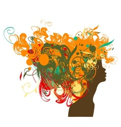 Beauty retro girl silhouette with multicolor hair vector image vector image