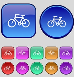 Bicycle icon sign A set of twelve vintage buttons vector image