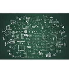 Business doodles on dark green vector image