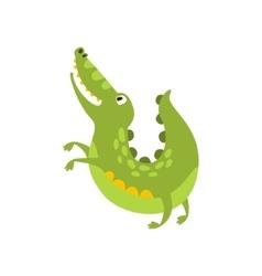 Crocodile Jumping Like Dog Flat Cartoon Green vector image