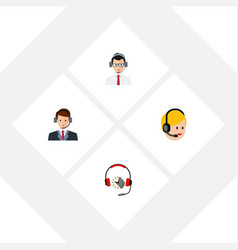 flat center set of call center hotline help and vector image vector image