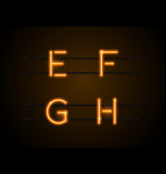 neon font efgh vector image vector image