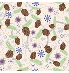 Snowflake and cones seamless pattern vintage vector image