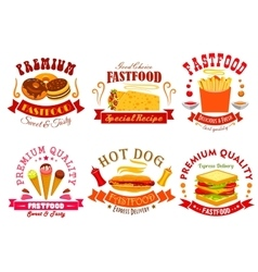 Fast food menu icons labels emblems set vector image