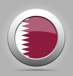 Flag of qatar shiny metal gray round button vector