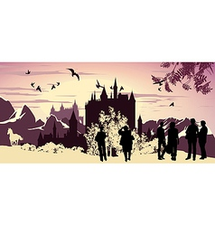 lanscape silhouettes vector image vector image