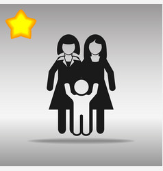 lesbian couple with a baby black icon button logo vector image vector image