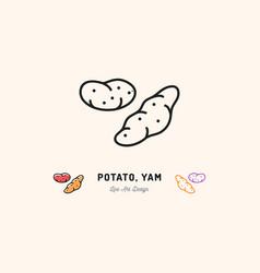 Potato yam icon vegetables logo thin line art vector