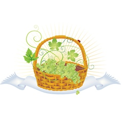 Wicker basket with grape vector image