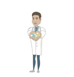 Young hispanic pharmacist giving pills vector