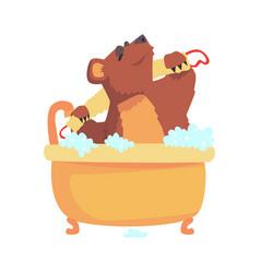 cute cartoon bear taking a bath washing its body vector image