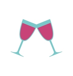 Pair glass cup wine love celebration icon vector