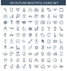 100 beautiful icons vector