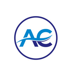 A and c swoosh initial logo letters vector
