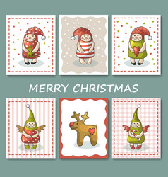 A large set of christmas cards with gnomes vector