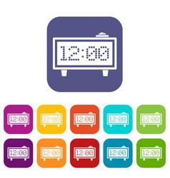 Alarm clock icons set flat vector